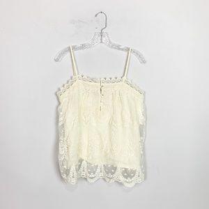 Lunik | lace overlay scalloped hem cami medium